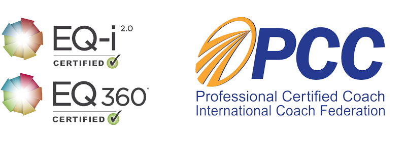 EQ-i certification logos and PCC logo